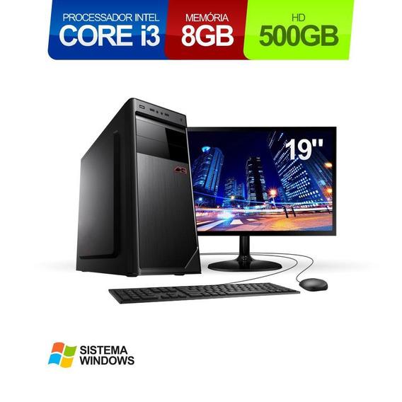 Pc Intel Core I3 8gb 500gb Windows Mon Led 19