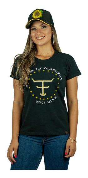 Camiseta Feminina Country Texas Farm - Preta Cf070 + Brinde