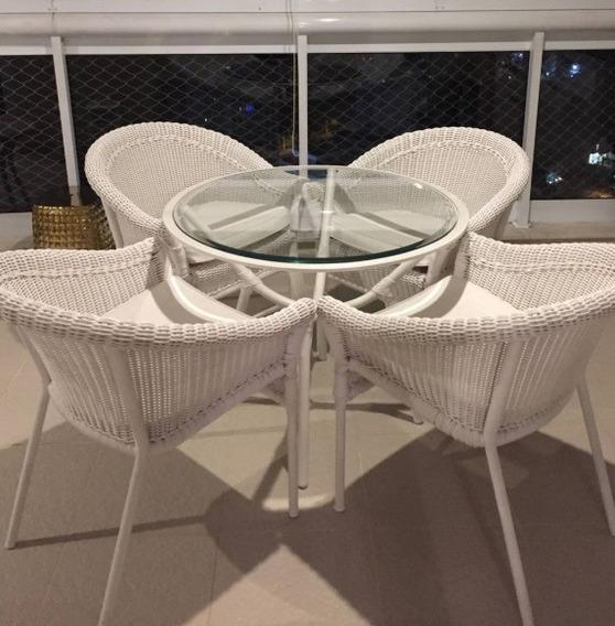 Jogo Mesa 04 Cadeiras Carrinho Chá Varanda Jardim Rattan