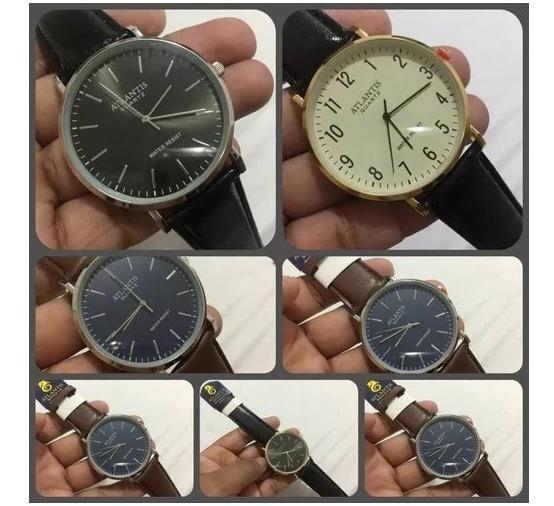 Relógio Atlantis Social Pulseira De Couro Classico