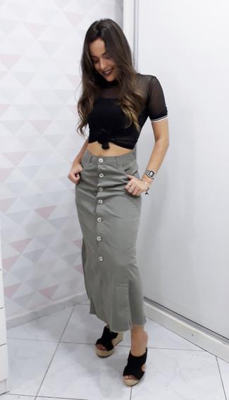 Saia Midi Jeans Desfiada Botão Frontal Cintura Alta Hot Pant