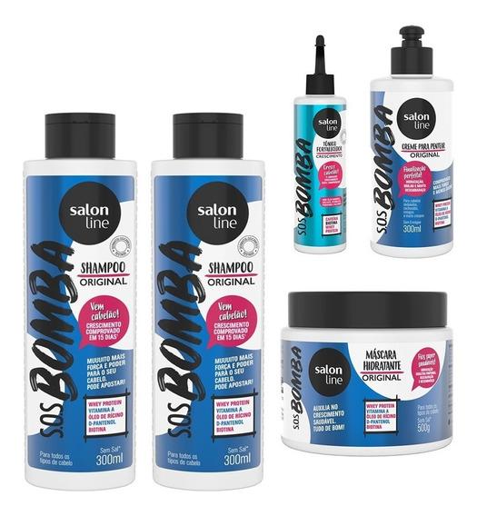 Kit Sos Bomba Turbo Salon Line Com 5 Produtos - Original