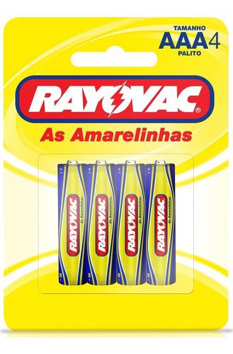 Imagem 1 de 5 de 04 Pilhas Aaa Amarelinha Zinco Rayovac 1 Cartela C/ 4 Unid
