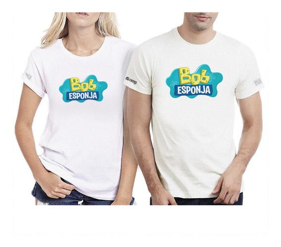 Camisetas Pareja Hombre Mujer Bob Esponja Logo Serie Ipk