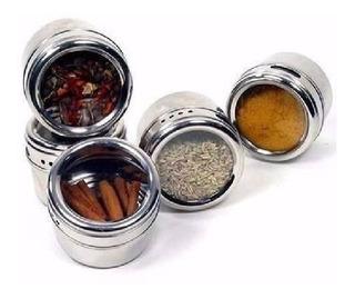 Kit 24 Porta Condimento Inox Tempero Magnético Imã Geladeira