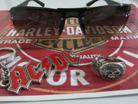 Kit Rock :anel Harley+chaveiro Ac/dc+óculos De Sol