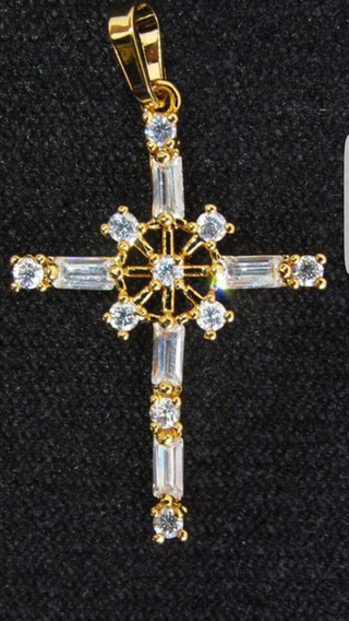 Cruz Baño De Oro 18k Zirconias