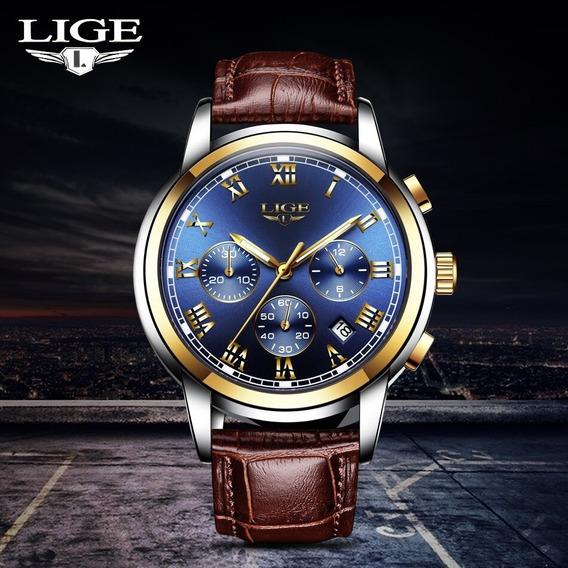 Relógio M/ Luxo Lige Original + Caixa Original C/ Garantia