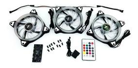 Kit Coolers 3 X 120mm + Fita Led + Controle Troca Cor 123l