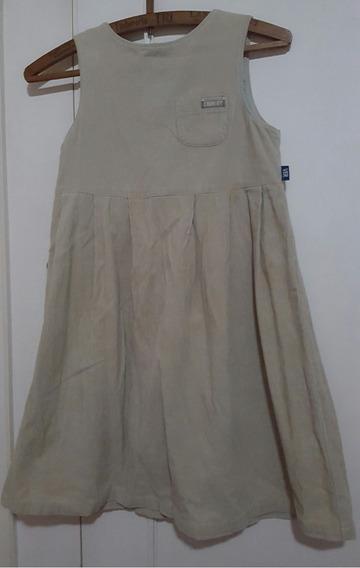 Vestido Nena Corderoy Beige Talle 10