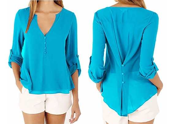Com 5 Camisa Social Feminina Blusa Lisa Manga Longa