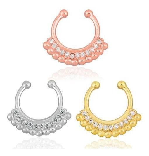 #12 - Rose Gold - Falso Tabique Clicker No Piercing Nar-2143