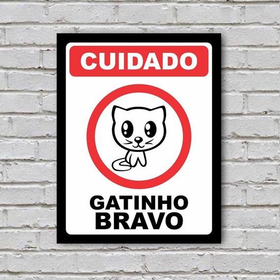 Placa De Parede Decorativa Gatinho Bravo Shopb Novo