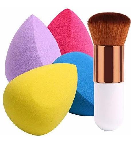 Beakey 4 1pcs Esponjas De Maquillaje Con Brocha Para Polvos,