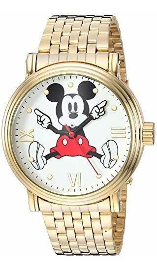Reloj De Pulsera De Mickey Mouse 90 Aniversario, Dorado.