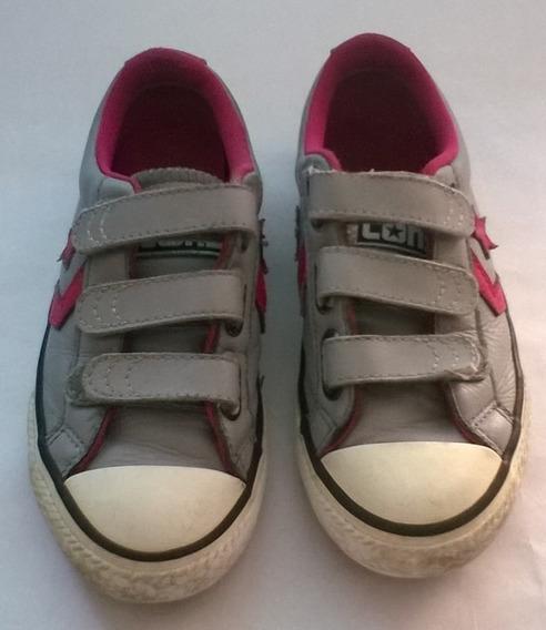Zapatos Converse All Star En Cuero Para Niña N31 (usado)