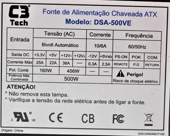 Fonte Oem C3 Tech Atx 500w Dsa-500ve (reembalada)