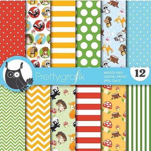 Kit Imprimible Pack Fondos Animalitos Clipart Cod1123
