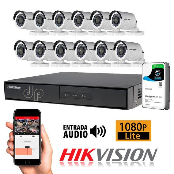 Kit Seguridad Hikvision Dvr 16 + 1tb + 12 Camara 1080p Cuota