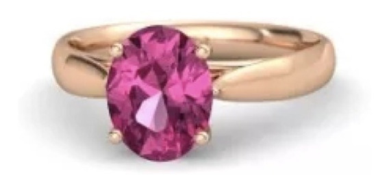 Anillo Con Zafiro Natural Rosa De 6.05 Ct. Corte Oval