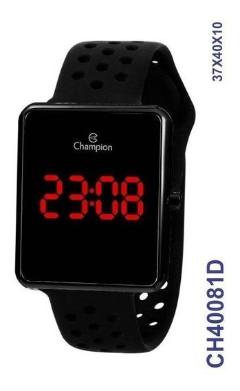 Relógio Digital Unissex Preto Ch40081d Pulseira Em Silicone