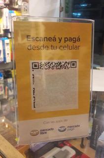 Soporte Atril Acrilico Exhibidor Qr Mercadolibre 10 X 15 Cm