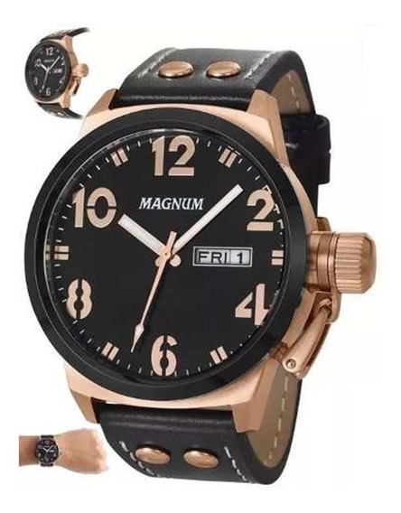 Relógio Masculino Pulseira De Couro Magnum Ma32783p -