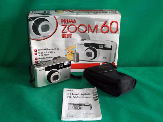 Antiga Câmera Canon Prima Zoom 60 Usada Na Caixa Original