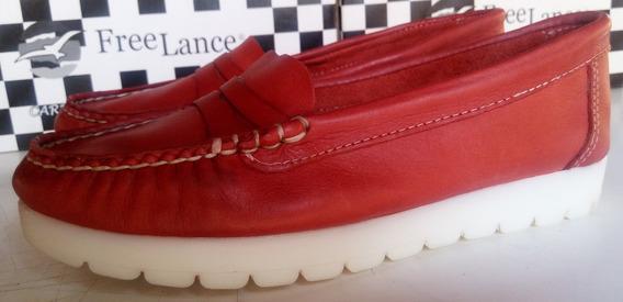 Mocasín Mujer Cuero Free Lance -zapato-chatita- Dama
