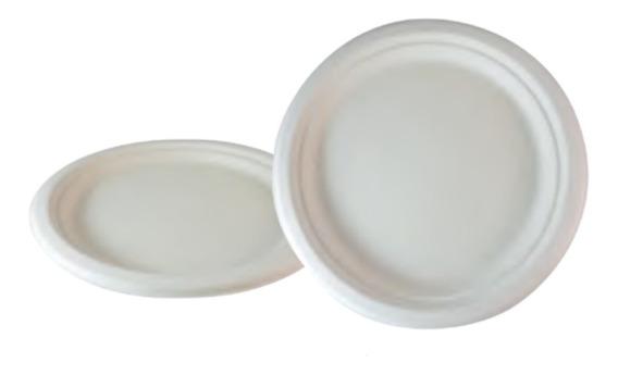 72 Platos Lisos Desechables Biodegradables De 22 Cm