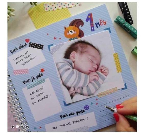Álbum Diário Do Bebê Bichinhos Verde + Bloco Rotina Do Bebê