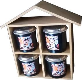 Kit Cozinha N29 Barato Casa Mdf Cru Kit Condim C4 Potes Alum