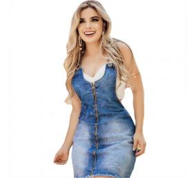 Vestido Jeans Salopete Jardineira Zíper Feminino Curto 003