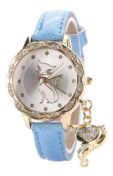Relógio Infantil Feminino Gatinho Com Pingente