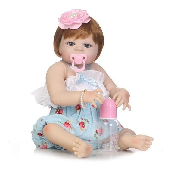 Bebe Reborn Boneca 100% Silicone Menina Ruiva 55cm Real