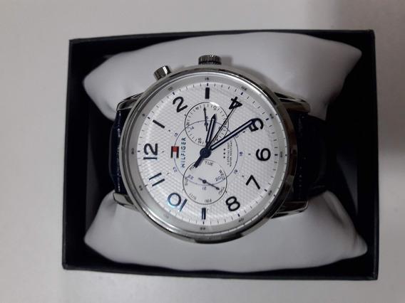Relógio Tommy Hilfiger Masculino Pulseira Em Couro Azul