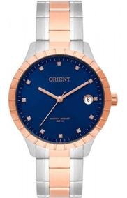 Relogio Orient Feminino Rose Azul Bicolor Ftss1116 D1sr + Nf