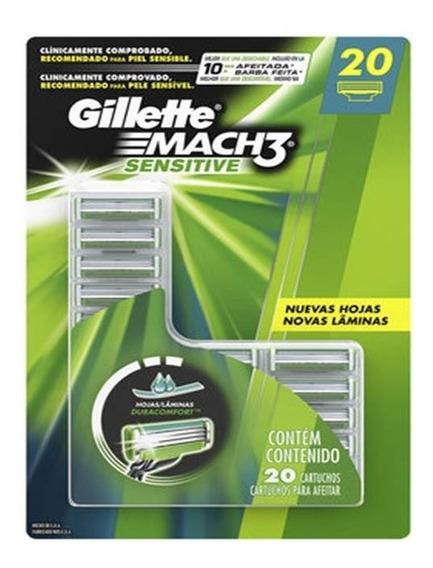 20 Cargas Para Aparelho De Barbear Gillette Mach3 Sensitive