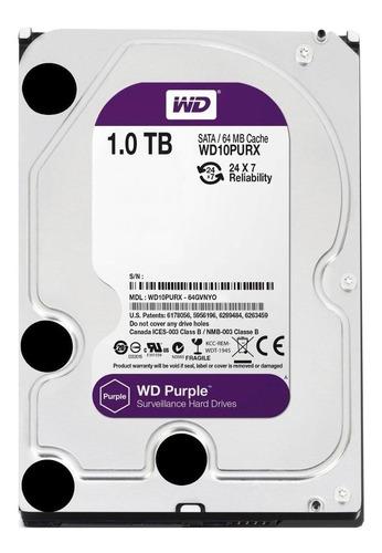 Imagem 1 de 2 de Disco rígido interno Western Digital WD Purple WD10PURX 1TB roxo