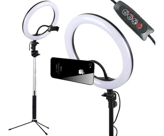 Kit Iluminação Led Ring Light + Tripé Suporte Celular Selfie Maquiador Youtuber Refletor Videos