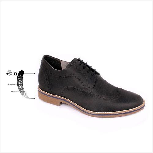 Zapato Casual Oxford Negro Opaco Max Denegri +7cms De Altura