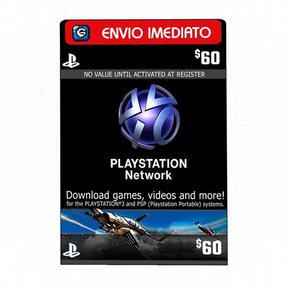 Playstation Network Card Cartão Psn 3x $20 Ou $ 60 ($50+$10)