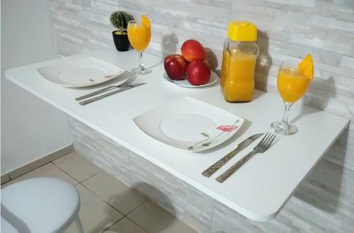 Mesa De Parede Dobrável-100cx50l Mdf Branco P/cozinha, Apto