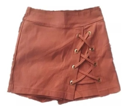 Shorts Saia Bengaline Com Ilhos Moda Blogueira Super Fashion