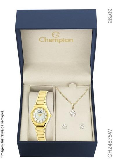 Relógio Champion Feminino Ch24875w Kit Original