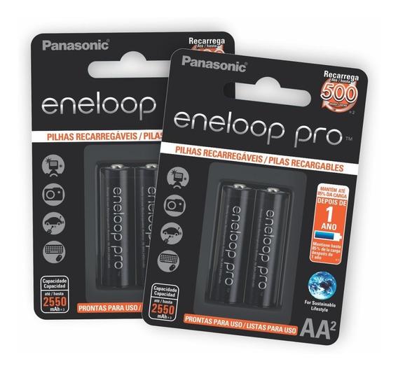 2 Cartelas De Pilhas Recarreg Eneloop Pro Pequena Aa Ct C/02