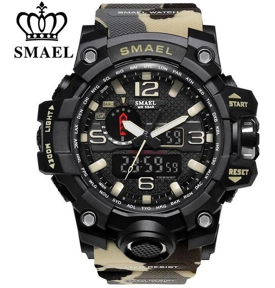 Relógio Militar Smael 1545 Camuflado Cáqui Promoção Original