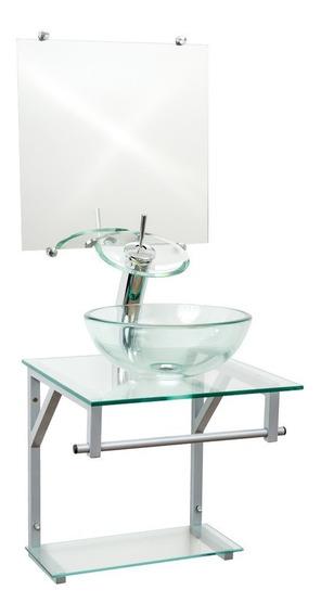 Kit Acessórios Gabinete 40cm Incolor Cq + Torneira Cascata