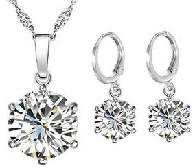 Colar + Brinco De Prata Pura 925 Diamante Sintético Feminino