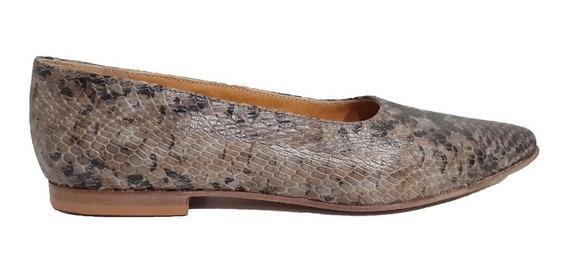 Zapato Mujer Cuero Reptil Oscuro Chatita Forro Cuero Badana